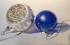 Vintage Ornaments: Concave Silver with Blue