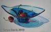 Blue Glass with Cherries