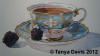 Blue Teacup with Blackberries