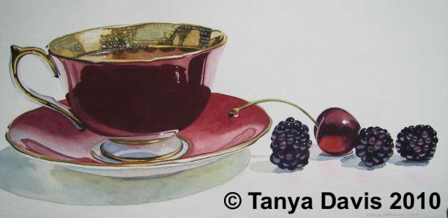 Red Aynsley Teacup with Blackberries and Cherry