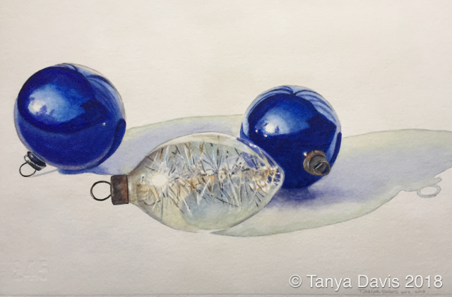Vintage Ornaments: Two Blue, with Tinsel
