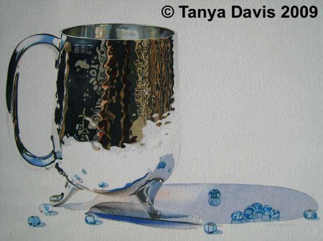 Silver Cup with Bluebird Feather and Glass beads