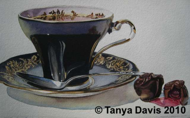 Black Aynsley Teacup w/ Chocolate Covered Cherries
