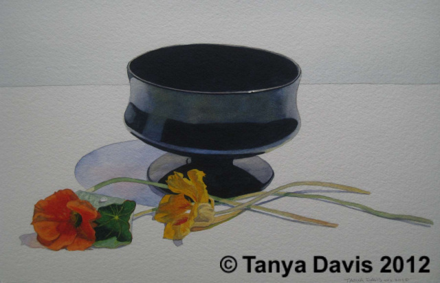 Black Compote with Nasturtiums
