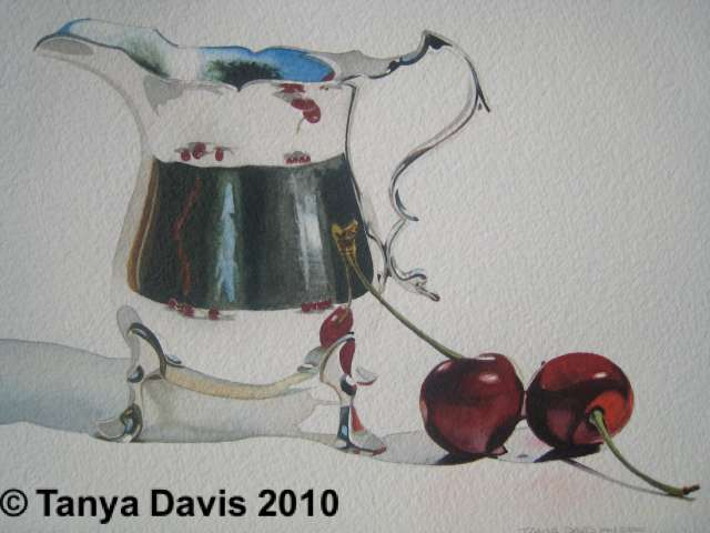 Footed Silver Creamer w/ Cherries
