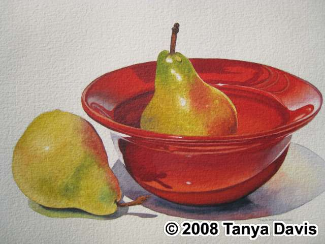 Red Bowl with Pears