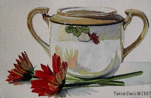Red Daisies with Sugar Bowl