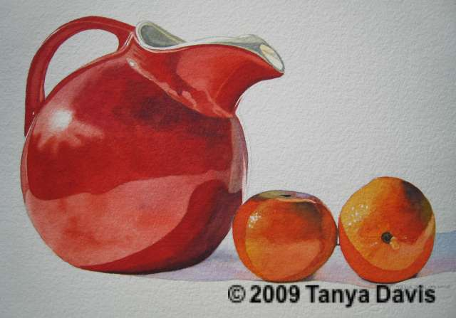 Red Pitcher with Tangerines