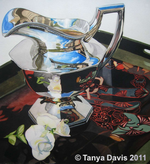 Silver Creamer on Lacquer Tray