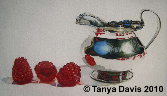Small Silver Creamer with Raspberries