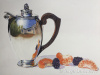 Silver Teapot with Tangerines and Blackberries