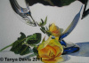Silver Teapot with Yellow Rose